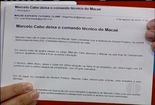 Marcelo Cabo deixa o comando do Macaé e Jousé Teixeira assume o cargo - Negociações acontecem neste segunda-feira (3).