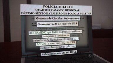 Policiais reclamam de uma determinação do 16º Batalhão de Polícia Militar em Guarapuava - A determinação é de que em caso de atraso no pagamento do licenciamento dos carros particulares, os policiais teriam uma pena que vai além do Código de Trânsito Brasileiro. Entenda melhor.