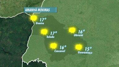 O tempo segue aberto no Oeste do Paraná - A massa de ar seco que atua sobre o estado impede a chegada de uma frente fria.