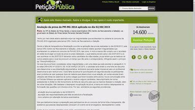 Mais de 14 mil candidatos pedem cancelamento de prova de concurso da PM de Minas Gerais - Mais de 14 mil candidatos pedem cancelamento de prova de concurso da PM de Minas Gerais