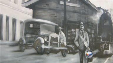 Grafiteiro retrata em muros e paredes de Varginha (MG) fotografias antigas da cidade - Grafiteiro retrata em muros e paredes de Varginha (MG) fotografias antigas da cidade