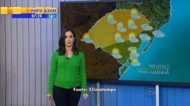 Tempo: quinta-feira (19) pode ter chuva fraca em Porto Alegre, Serra e Litoral Norte - Nas outras regiões do estado, não há previsão de chuva.