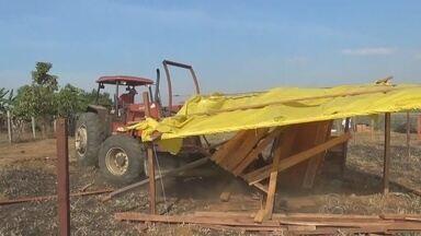 Dono de área invadida em Apuí começa a demolir barracos após determinação da Justiça - Justiça determinou desocupação de terreno no interior do AM.
