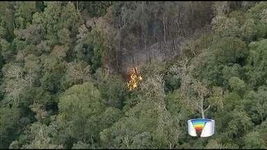 Caminhão cai em ribanceira, pega fogo e interdita a SP-99 na serra - Polícia não tem informação de feridos; chamas foram vistas de longe.