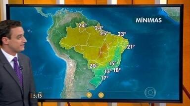 Confira como fica o tempo nesta terça-feira (25) em todo o Brasil - Chuva mais forte deve cair em Santa Catarina e no Paraná. Chove um pouco mais fraco no centro-sul de São Paulo, no sul de Minas Gerais e no Rio de Janeiro.