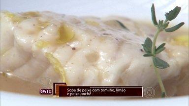 Chef Flávio Miyamura prepara uma Sopa de Peixe Poché - Receita é feita com a cabeça e espinha do peixe