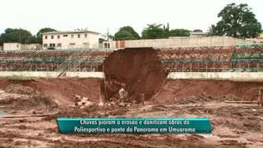 Chuva atrasa as obras no Poliesportivo e Ponte do Panorama - Por causa da chuvarada as arquibancadas do Poliesportivo caíram. E na obra da Ponte do Panorama, o que tinha sido feito se perdeu.