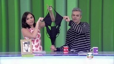 Monica Iozzi e Otaviano Costa mostram monoquíni - Apresentadores mostram cena de Atena de A Regra do Jogo com a peça