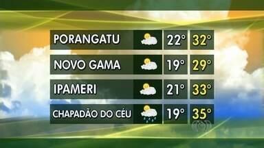 Confira a previsão do tempo para algumas cidades do interior de Goiás - Tempo deve ser de sol e algumas nuvens para a maior parte das regiões do estado.