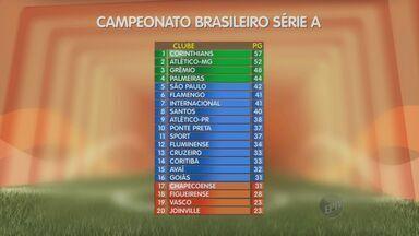 Confira a classificação dos times da série A do Brasileirão - O Corinthians continua em primeiro lugar com 57 pontos. O Atlético Mineiro está em seguida com 52.
