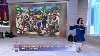 Painel na Alemanha faz piada de mau gosto com a imagem do Brasil - Charge liga imagem do Brasil à violência, drogas e armas