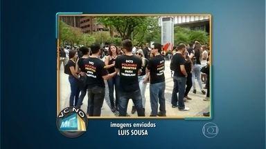 Aprovados no último concurso para investigador da Polícia Civil protestam em BH - Eles pedem a nomeação imediata para mil vagas. O Luís Souza gravou a manifestação e envisou para o Whatsapp da TV Globo Minas, pelo telefone 31-9923-3700.