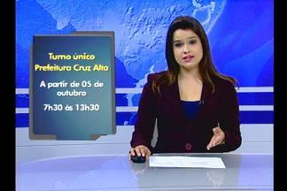 Prefeitura de Cruz Alta, RS, vai adotar turno único a partir da próxima segunda - Atendimento passará a funcionar das 7h30 às 13h30.