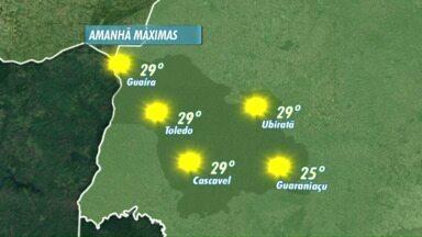 Sol e calor nesta terça-feira (06/10) no Oeste do Paraná - Frente fria deve chegar no decorrer da semana e provoca mudanças no tempo.