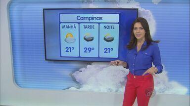 Chuva forte chega a região de Campinas, SP, neste final de semana - Em Campinas (SP) os termômetros devem marcar entre 21ºC e 29ºC neste sábado (10).