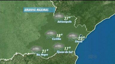 Confira a previsão do tempo para o domingo (11) - A previsão para o domingo será de chuva em todo o estado. Curitiba, mínima de 16 graus e máxima de 18 graus.
