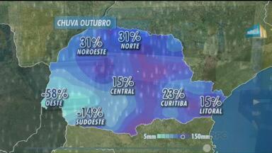 Confira a previsão do tempo para esta segunda-feira (26) no Paraná - Veja os dados sobre as chuvas desse mês de outubro, os locais mais atingidos e o que era esperado para cada região. Confira também como fica a previsão do tempo no estado.