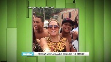 Susana Vieira grava vídeo e manda beijinho no ombro - Atriz de A Regra do Jogo canta e dança nos bastidores