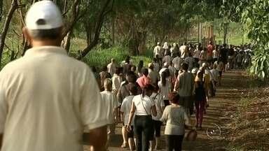 """Milhares de católicos participaram da caminhada do padre Mariano em Rio Preto - Milhares de católicos participaram de uma caminhada que já é feita há quase uma década na região. É a """"Caminhada do Padre Mariano"""", o primeiro beato da diocese de São José do Rio Preto (SP). Fiéis relembraram o padre e agradeceram por graças alcançadas."""