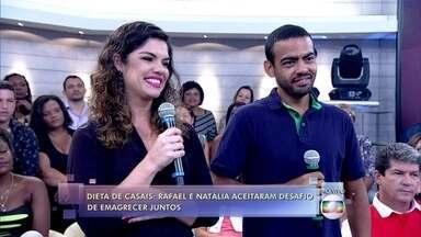 Dieta de casais: Rafael e Natália aceitaram o desafio de perderem peso juntos - Natália passou de 101 para 71 quilos; Rafael perdeu 17 quilos em 10 meses