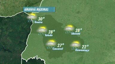 Previsão de chuva para esta quarta-feira no Oeste do Paraná - Apesar da chuva o calor não diminui.