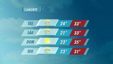 Previsão de chuva para a sexta e sábado em Cianorte - As nuvens carregadas continuam paradas sobre a região noroeste e há previsão de chuva para este fim de semana.