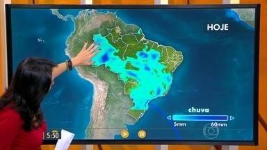 Confira como fica o tempo nesta segunda-feira (23) em todo o Brasil - A chuva se espalha pelo centro-oeste da Bahia e tem alerta daqueles temporais principalmente em Goiás, Tocantins, Minas e Paraná.