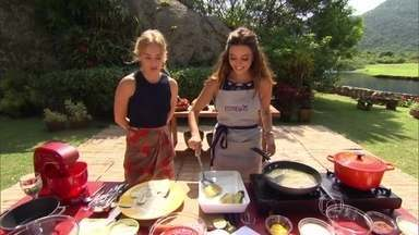 Giovanna Lancellotti prepara lasanha de berinjela - Atriz faz também sobremesa leve para Angélica