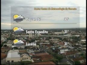 Quinta-feira deve ser de tempo nublado na região - Veja como ficam as temperaturas em algumas cidades.
