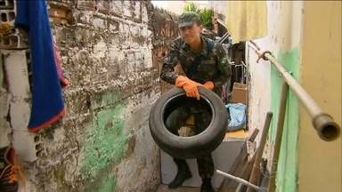 Exército começa a combater o mosquito Aedes Aegypti no Recife - Homens do Exército se juntaram aos agentes de saúde. Eles procuram focos do mosquito transmissor do zika vírus, da febre chikungunya e da dengue.