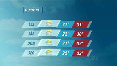 Previsão de um fim de semana chuvoso em Londrina - Pode chover nos próximos dias.
