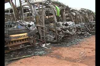 Em Altamira, polícia investiga incêndio a sete ônibus - Veículos estavam na garagem da empresa Transbrasiliana.