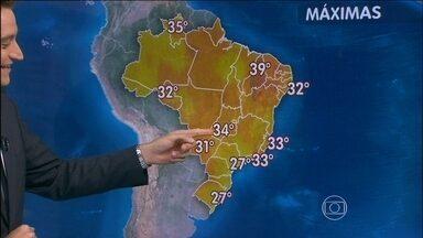 Quarta-feira (16) será de tempo abafado e chuva forte em boa parte do Brasil - Deve chover entre as regiões Norte, Centro-Oeste, Sudeste e o Paraná. O tempo fica mais seco da Bahia até o Ceará.