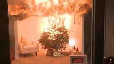Vídeo simula incêndio em árvore de natal e engenheiro elétrico explica como se proteger - O profissional tira dúvidas dos apresentadores sobre equipamentos elétricos e instalações