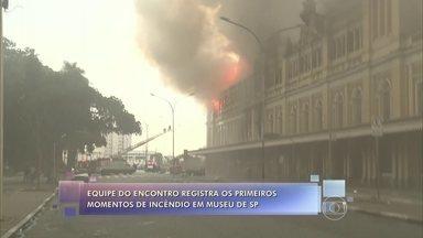 Fátima lamenta incêndio no Museu da Língua Portuguesa - Equipe do Encontro registrou os primeiros momentos do incêndio que atingiu prédio histórico em São Paulo. Perícia apura causa do acidente que matou um bombeiro civil