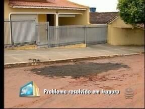 SPTV checa conserto de encanamento em Irapuru - Moradores reclamavam que água fica jorrando.