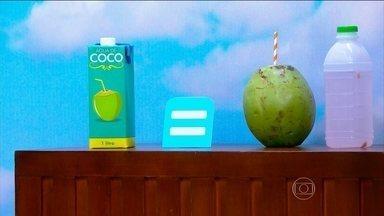 Água de coco ajuda na recuperação muscular - A nutricionista Cynthia Antonacci recomenda fazer suco de frutas, usando água de coco, para repor os minerais do corpo. O pesquisador da Embrapa Fernando Abreu esclarece que a versão em caixinha não perde nutrientes.