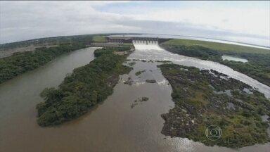 Chuva ajuda a recuperar níveis dos rios e reservatórios no interior de SP - No ano passado, o nível do reservatório da Usina Hidrelétrica de Marimbondo, que faz parte do Complexo Furnas, chegou a 17% por cento. Agora, está quase com 84% da capacidade.
