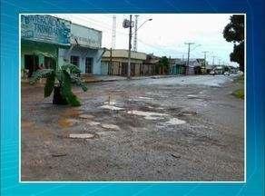 Moradores de Guaraí colocam bananeira para alertar motoristas sobre buracos no asfalto - Moradores de Guaraí colocam bananeira para alertar motoristas sobre buracos no asfalto