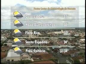 Áreas de instabilidade predominam no Oeste Paulista - Calor deve continuar durante a tarde.