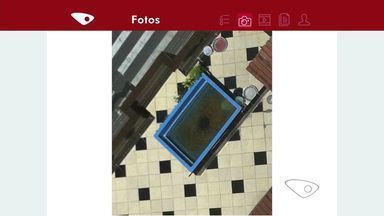 Moradora flagra piscina que pode ser foco de reprodução de mosquito, em Vila Velha, no ES - Moradora não quis se identificar, Prefeitura indica que denunciem no disk dengue.