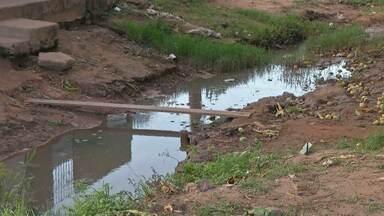 Água acumulada em buracos de rua preocupa moradores - Eles temem que o mosquito Aedes aegypti se reproduza.