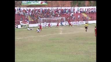 Nacional de Muriaé perde para América-TO no Módulo II - NAC tem jogador expulso no primeiro tempo e sofre dois gols em cinco minutos após os 40 da etapa final. Time de Muriaé joga contra Minas, nesta quinta.