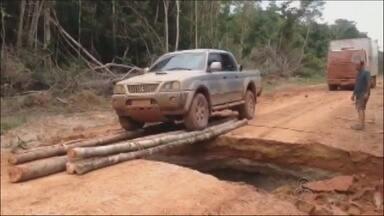 Bueiro rompe em trecho da BR-174 devido às chuvas na região - Fato ocorreu em trecho que dá acesso a Manicoré.