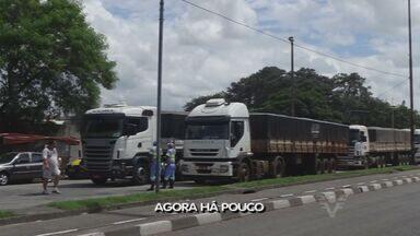 Acesso ao Porto de Santos pela Av. Mário Covas tem grandes filas - O congestionamento foi causado por excesso de caminhões.