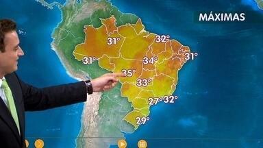 Confira como fica o tempo nesta quinta-feira (24) em todo o país - A previsão é de chuva forte em parte do Sudeste. Também são esperadas pancadas de chuva nas regiões Norte e Nordeste e em Mato Grosso.