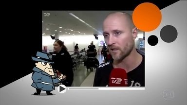 Detetive Virtual desvenda caso de mulher que 'desaparece' em aeroporto - Enquanto homem dá entrevista na Dinamarca, duas mulheres estão atrás. Quando uma vai embora, a outra 'some'.