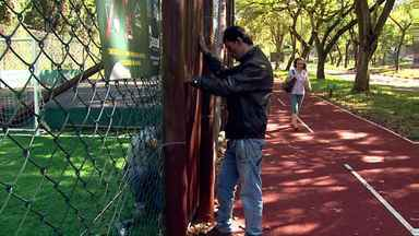 Pista da avenida Paraná inaugurada há um mês já precisa de reparos - A quadra de basquete estava esfarelando e dois portões foram danificados.