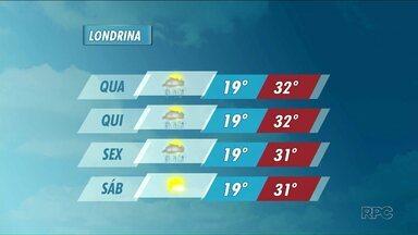 Chuva pode chegar a Londrina nesta quarta-feira, mas fim de semana deve ser de sol - Temperaturas máximas podem chegar a 32 graus