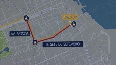 Centro do Rio tem novas interdições no trânsito para continuação de obras do VLT - A interdição começa na quarta-feira (20), na Avenida Passos.